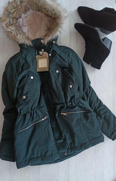 Odzież wierzchnia Kurtka parka pullandbear butelkowa zieleń m 38 kaptur ciepła zimowa