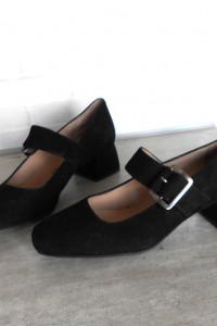 Unisa nowe czarne buty baleriny na klocku retro vintage skórzane skora