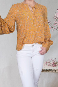 Hm musztardowa bluzka bufki