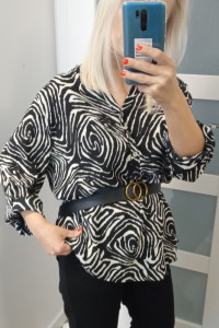 Bluzka tunika czarna we wzorki pasuje na S M L XL bez paska
