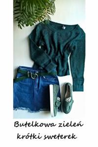 Krótki sweter butelkowa zieleń S M