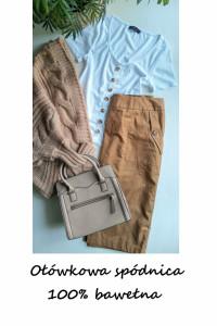 Ołówkowa spódnica bawełna brązowa camel M L