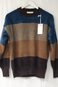 Włoski Sweter alpaka z ciemnym niebieskim nowy model