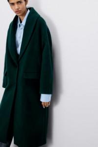 Zara zielony płaszcz wełna alpaka szalowy kołnierz XL...