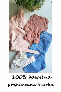 Prążkowana bluzeczka z guzikami bawełna XS S