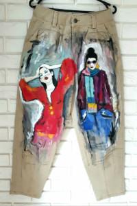 recznie malowane jeansy...