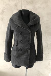 Szary płaszcz z paskiem kurtka SZARY S 36