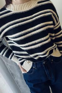 Gruby sweter w paski czarny beżowy H&M