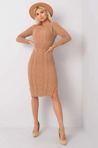 Ciemnobeżowa sukienka sweterkowa ONE SIZE Sobelle RUE PARIS