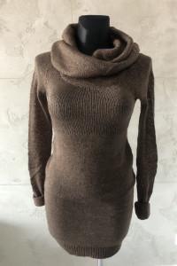 NOWY Brązowy golf tunika sukienka sweter