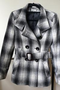 Wełniany płaszcz z kratkę z paskiem krata rozmiar XS S