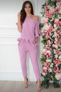Komplet bluzka plus spodnie z falbanką lilia róż rozmiar uni XS S M