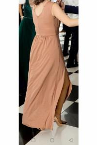 Długa różowa sukienka ze złotym brokatem rozmiar S 36...