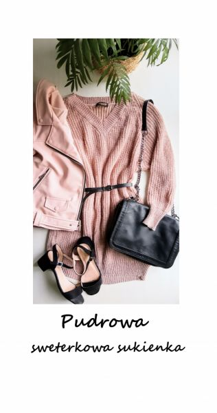 Swetry Pudrowy długi sweter dzianinowa sukienka oversize S M L