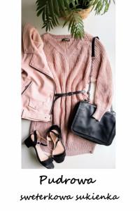 Pudrowy długi sweter dzianinowa sukienka oversize S M L...