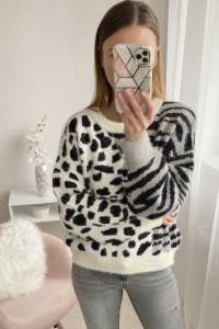 Sweter pantera zebra ciepły kardigan uniwersalny