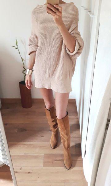 Swetry TkMaxx Yet Again sweter sukienka oversize 55 bawełna dobry skład nude beż cielisty