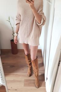 TkMaxx Yet Again sweter sukienka oversize 55 bawełna dobry skład nude beż cielisty