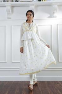 Nowa biała sukienka indyjska M 38 boho hippie złoty wzór folk e...