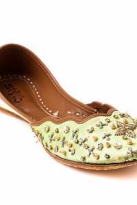 Nowe buty indyjskie balerinki 39 płaskie zielone zdobione boho ...