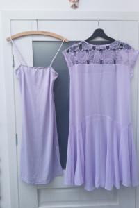 Sukienka z halką fioletowa liliowa komplet...