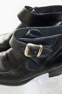 Czarne botki ekoskóra jesienne buty na obcasie vintage 36...