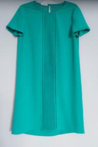 Promod zielona sukienka 40 L ażur prosty fason elegancka butelk...
