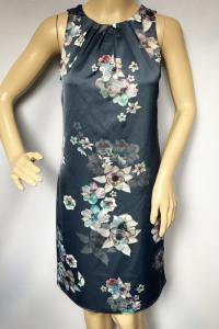 Sukienka XS 34 H&M Kwiaty Granatowa Prosta Kwiatki...