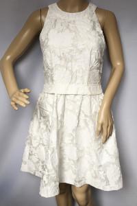 Sukienka Biała H&M S 36 Wzory Tłoczony Wzór Biel...