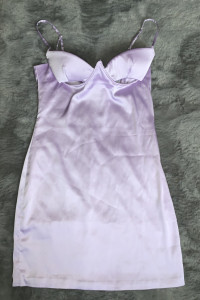 sukienka satynowa liliowa oh polly...