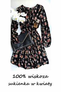 Sukienka w kwiaty M L wiskoza długi rękaw sukienka na co dzień...