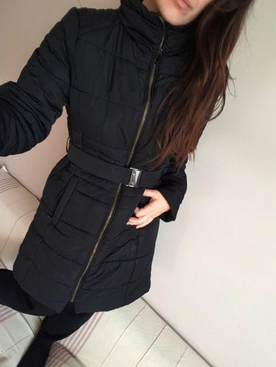 Odzież wierzchnia płaszcz zimowy Orsay XL czarny bez kaptura kurtka na zimę puchówka 42