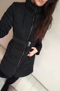 płaszcz zimowy Orsay XL czarny bez kaptura kurtka na zimę puchó...