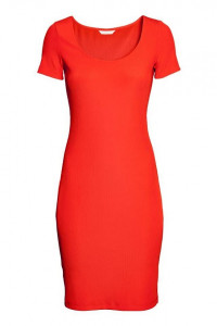 H&M czerwona dopasowana sukienka z dżerseju w prążk...