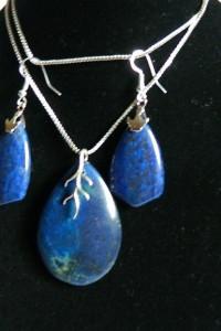 Lapis lazuli i srebro wisior i kolczyki zestaw biżuterii...