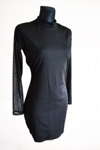 Elegancka czarna sukienka M L prześwitujące rękawy półgolf mała...