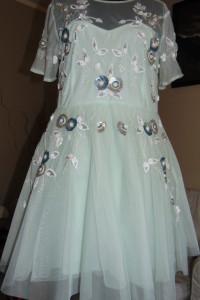 Sukienka wieczorowa Asos miętowa rozkloszowana cekiny tiul 44 XXL