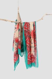 Nowy lekki szal tkany z wełną orientalny beżowy różowy turkusow...