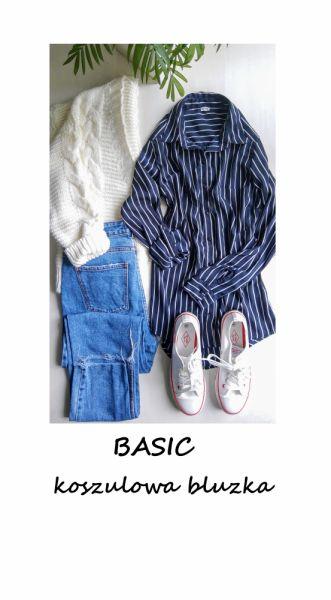 Bluzki Elegancka koszulowa bluzka w paski basic minimalizm