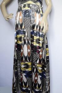 Sukienka H&M XS 34 Długa Long Wzory Aztec Satynowa...