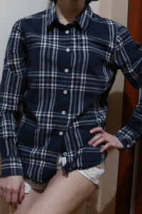 Granatowa Koszulka w kratkę