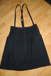 VILA czarna spódnica na szelkach roz L...