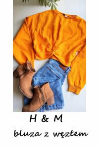 Krótka bluza z węzłem żółta musztardowa S M...