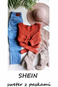 Oryginalny sweter z paskami Shein z wiązaniem S M L...