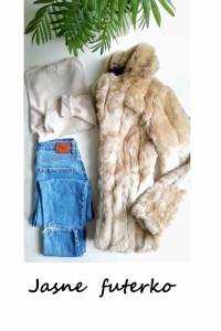 Beżowe jasne futerko S M ciepłe krótkie na zimę...