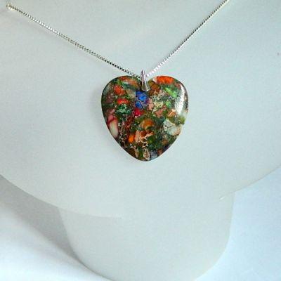 Naszyjniki Kolorowe serce jaspis cętkowany srebro wisiorek