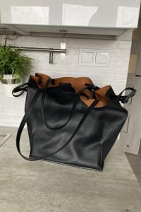 Zara czarna torba shopper worek