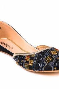 Nowe indyjskie buty baleriny 38 balerinki płaskie granatowe kor...