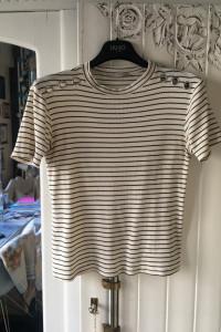 Koszulka biała w paski Zara M