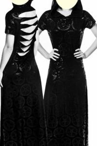 KillStar babhomet długa sukienka z kapturem roz S